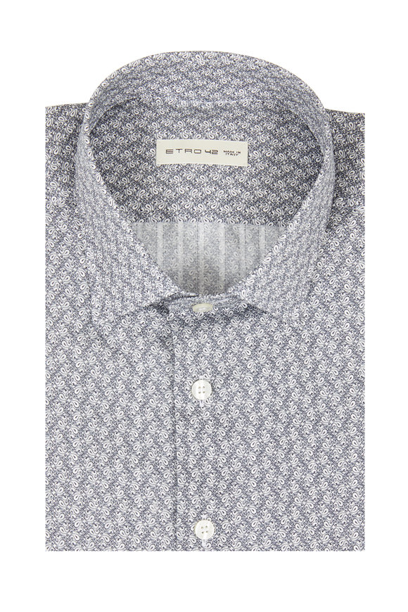 Etro Gray Mini Paisley Sport Shirt