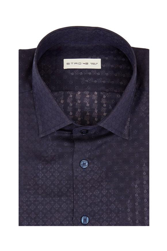 Etro Navy Blue Geometric Sport Shirt