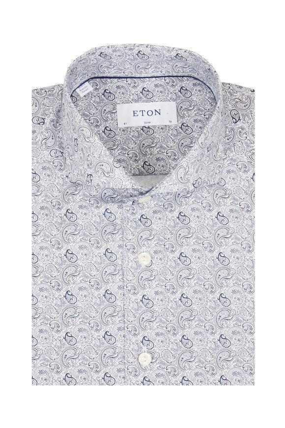 Eton Navy Blue Paisley Slim Fit Sport Shirt