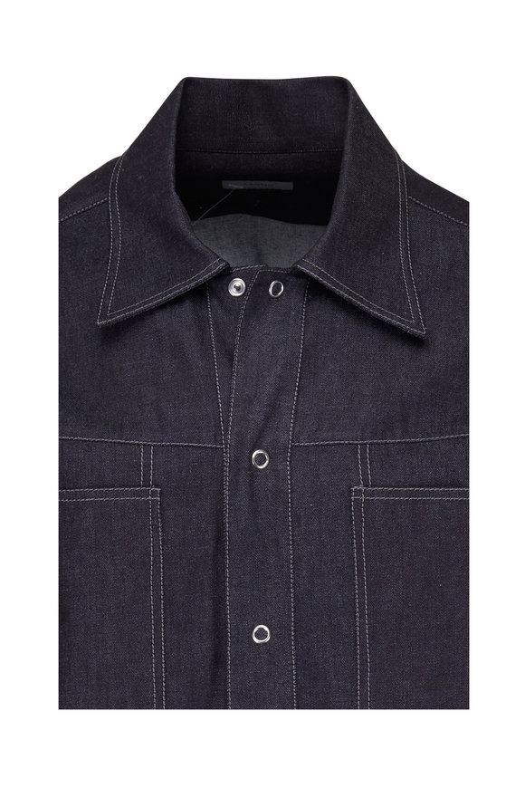 Lanvin Dark Denim Contrast Stitch Sport Shirt