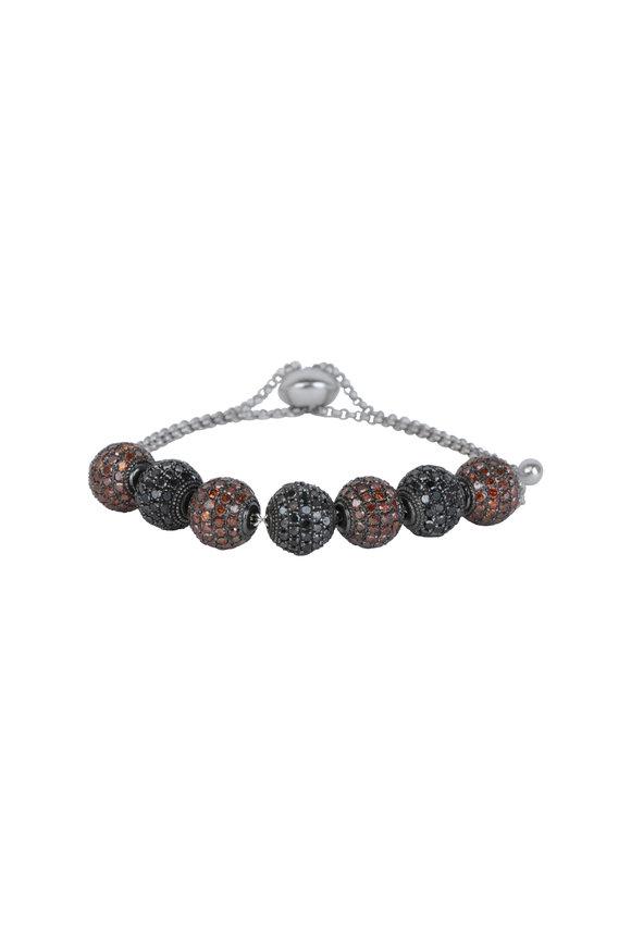 Loren Jewels Silver Black & Brown Diamond Ball Bracelet