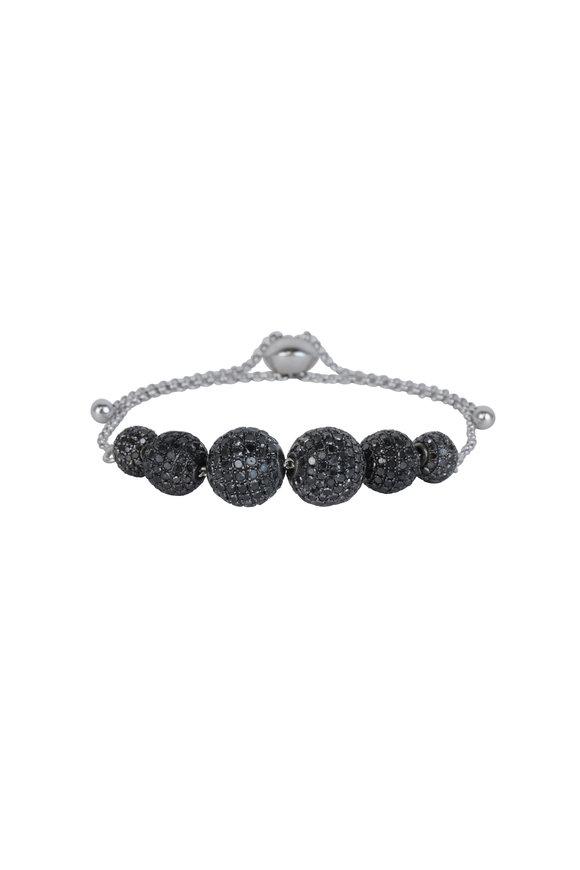 Loren Jewels Sterling Silver Black Diamond Ball Bracelet