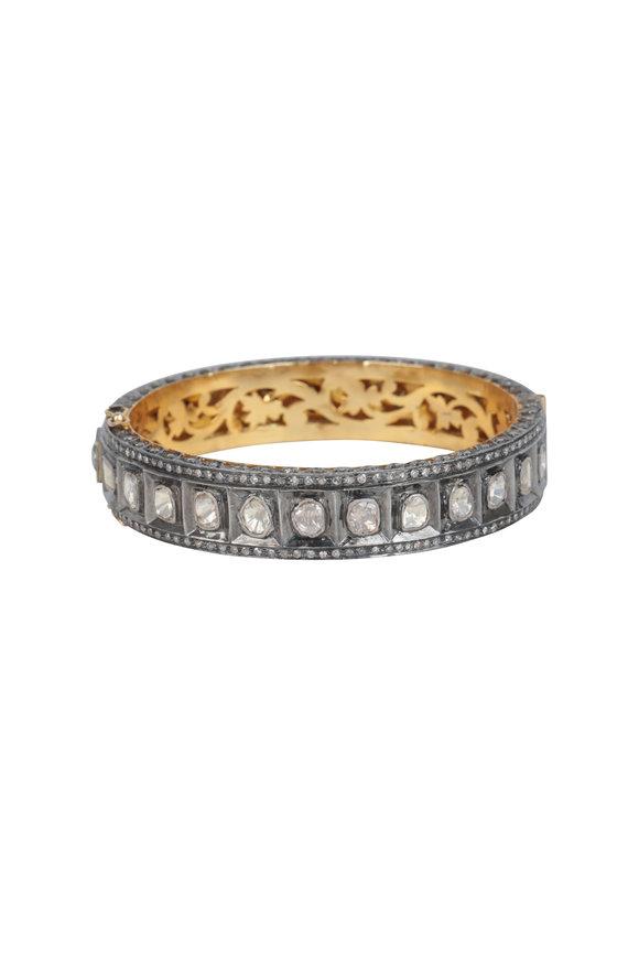 Loren Jewels 14K Gold & Silver Rose Cut Diamond Bangle