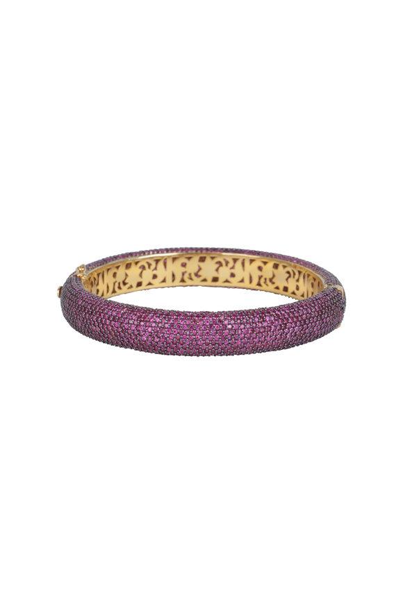 Loren Jewels 14K Gold & Silver Pavé Ruby Bangle