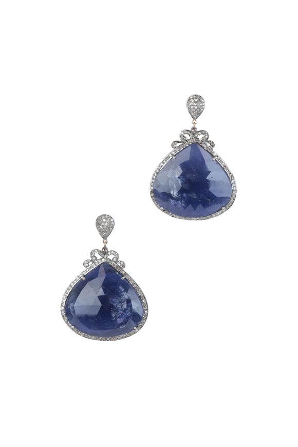 Loren Jewels 14K Gold & Silver Iolite & Diamond Earrings
