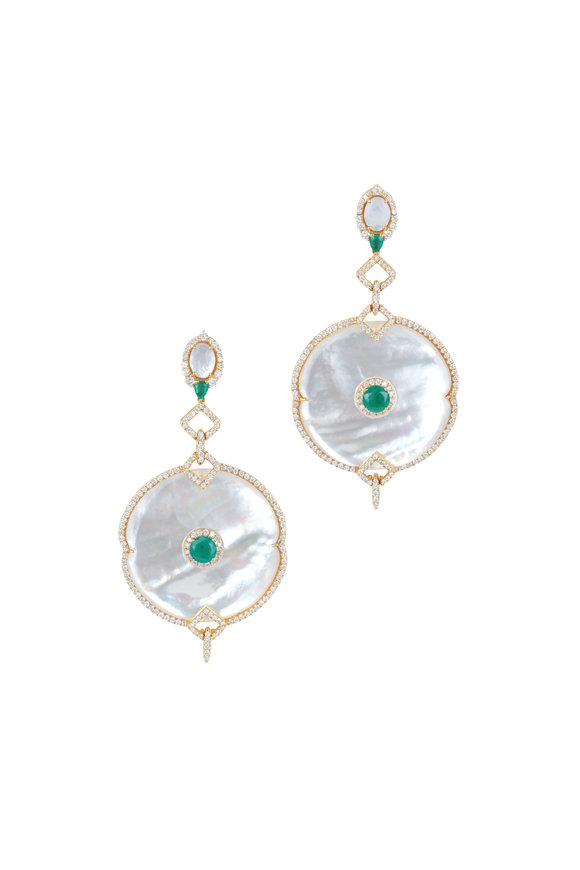 Loren Jewels 18K Yellow Gold Mother Of Pearl & Emerald Earrings