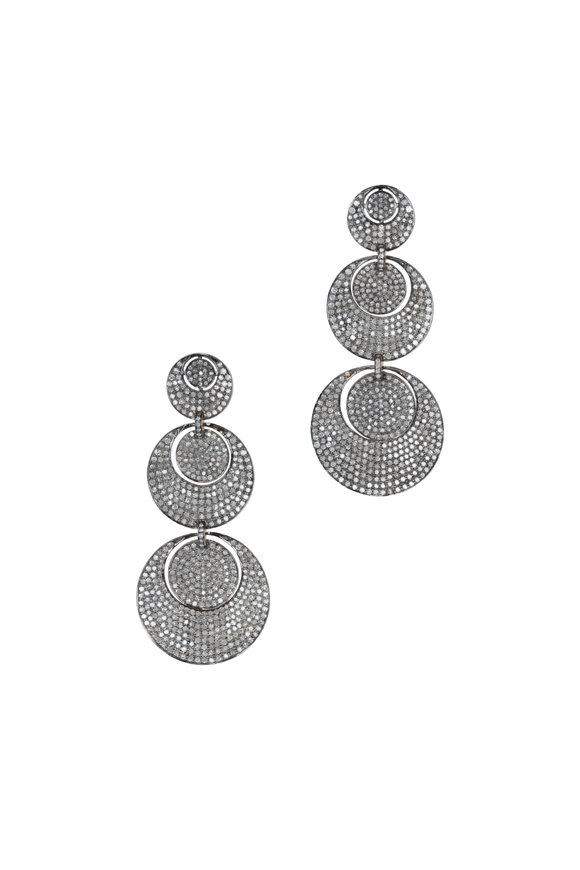Loren Jewels Gold & Silver Diamond Triple Circle Drop Earrings