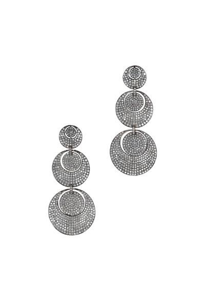 Loren Jewels - Gold & Silver Diamond Triple Circle Drop Earrings