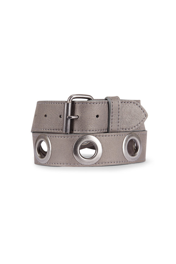 Kim White Grey Grommet Belt