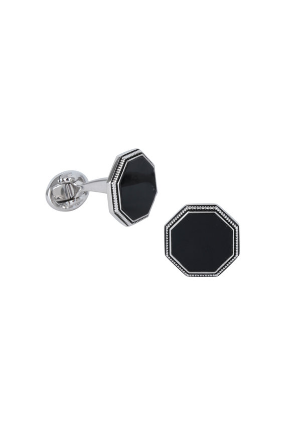 Jan Leslie Octagon Black Onyx Antique Border Cuff Links