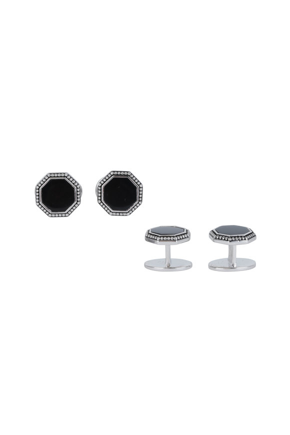 Jan Leslie Octagon Black Onyx Antique Border Stud Set