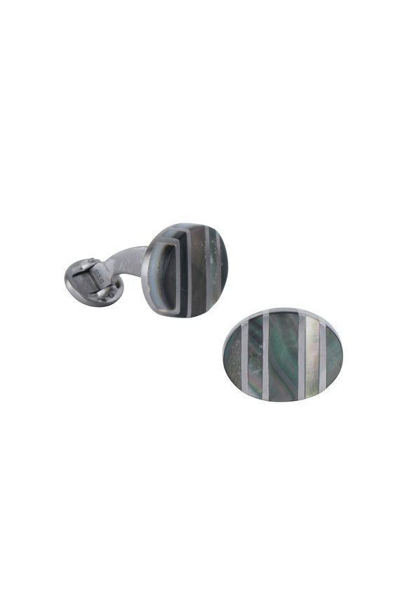Jan Leslie Gray Ruthenium Mother Of Pearl Cuff Links