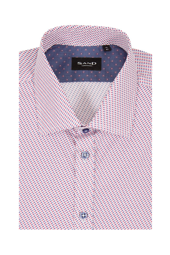 Sand Staten Red & Blue Geo Regular Fit Sport Shirt