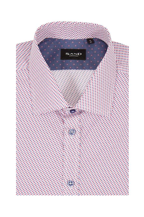 Sand Red & Blue Geometric Regular Fit Sport Shirt