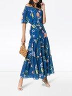 Borgo De Nor - Emelia Blue Vintage Flowers Off-The-Shoulder Dress