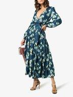 Borgo De Nor - Turquoise Silk Leopard Floral Print Maxi Dress