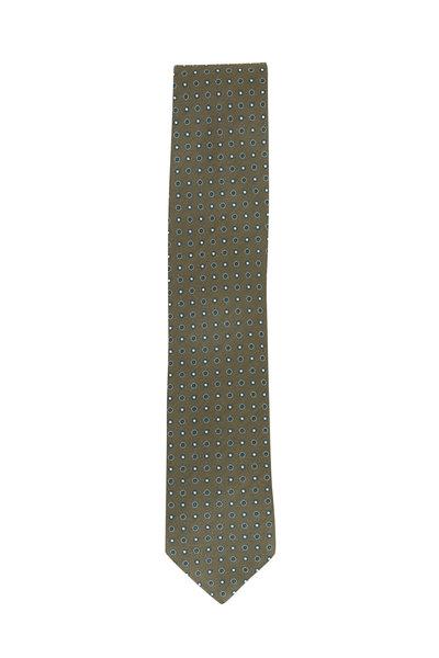 Eton - Green Dot Pattern Silk Necktie