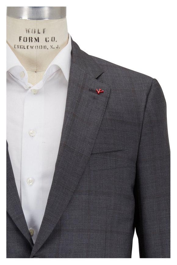 Isaia Medium Grey Windowpane Wool, Silk & Linen Suit