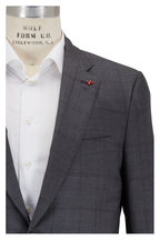 Isaia - Medium Grey Windowpane Wool, Silk & Linen Suit