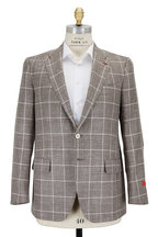 Isaia - Tan Windowpane Wool, Silk & Linen Sportcoat