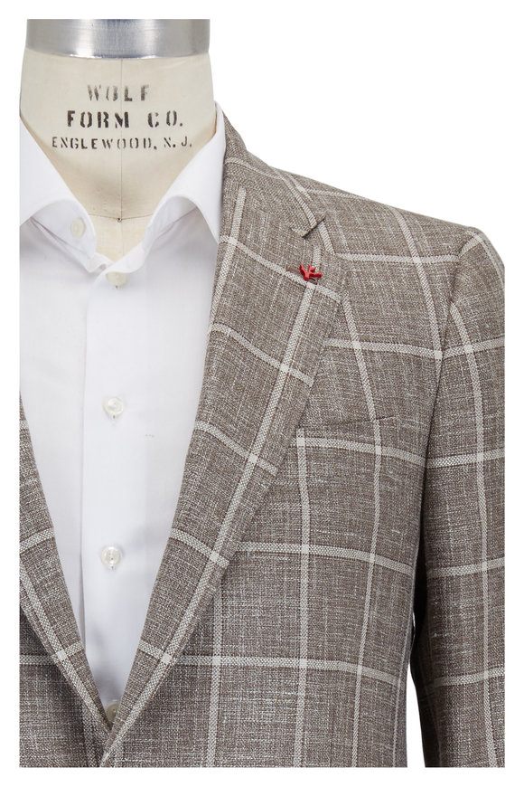 Isaia Tan Windowpane Wool, Silk & Linen Sportcoat