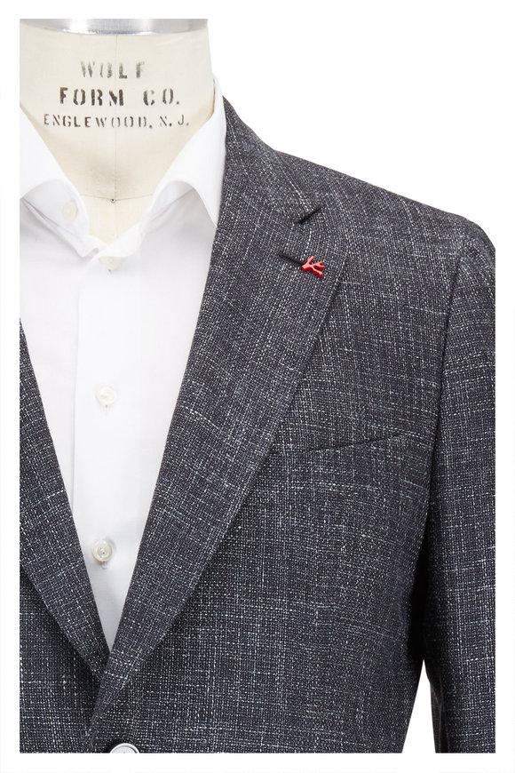 Isaia Black Melange Wool, Silk & Linen Sportcoat