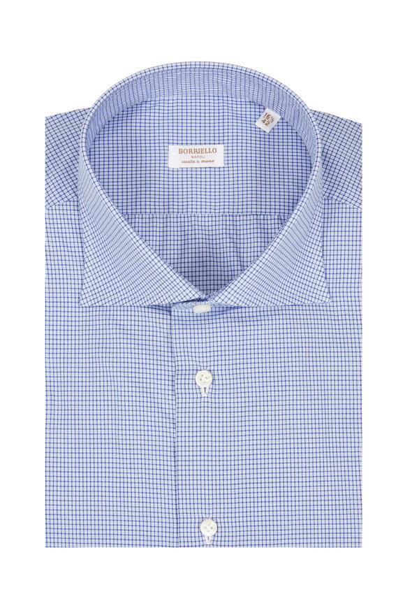 Borriello Navy Blue Mini Check Dress Shirt