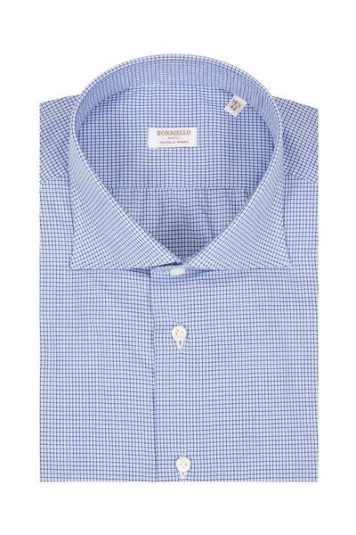 Borriello - Navy Blue Mini Check Dress Shirt