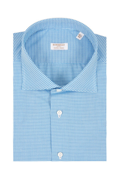 Borriello - Teal Mini Check Dress Shirt