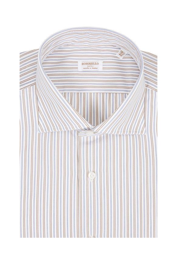 Borriello Navy Blue & Brown Striped Dress Shirt