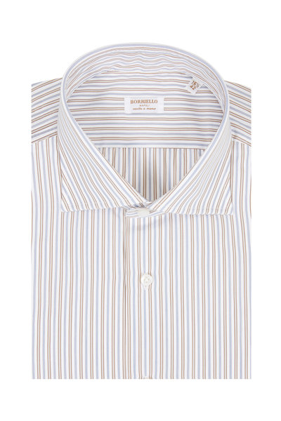 Borriello - Navy Blue & Brown Striped Dress Shirt