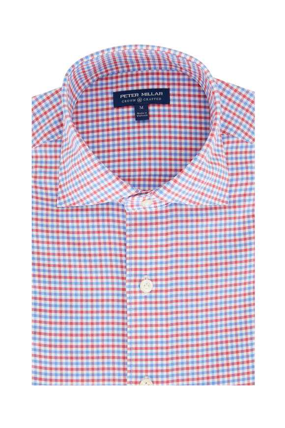 Peter Millar Crown Crafted Red & Blue Check Sport Shirt