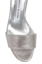 Manolo Blahnik - Lauratomod Silver One Band Linen Sandal, 50mm