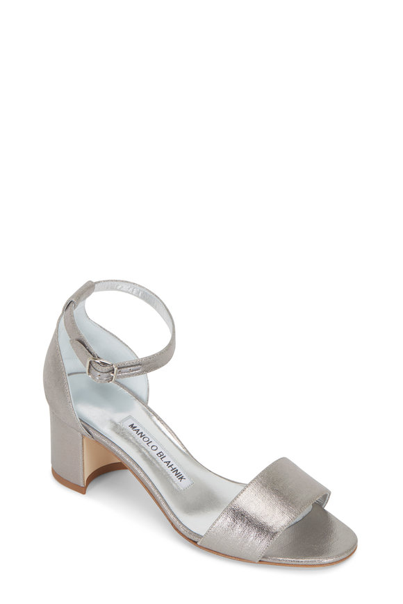 Manolo Blahnik Lauratomod Silver One Band Linen Sandal, 50mm
