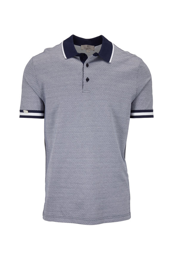 Canali Navy & White Printed Cotton Short Sleeve Polo