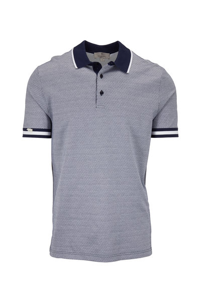 Canali - Navy & White Printed Cotton Short Sleeve Polo