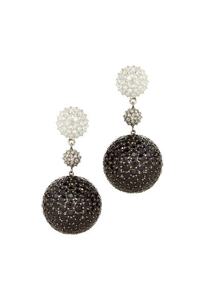 Nam Cho - Gold Black Sapphire Diamond Ball Drop Earrings