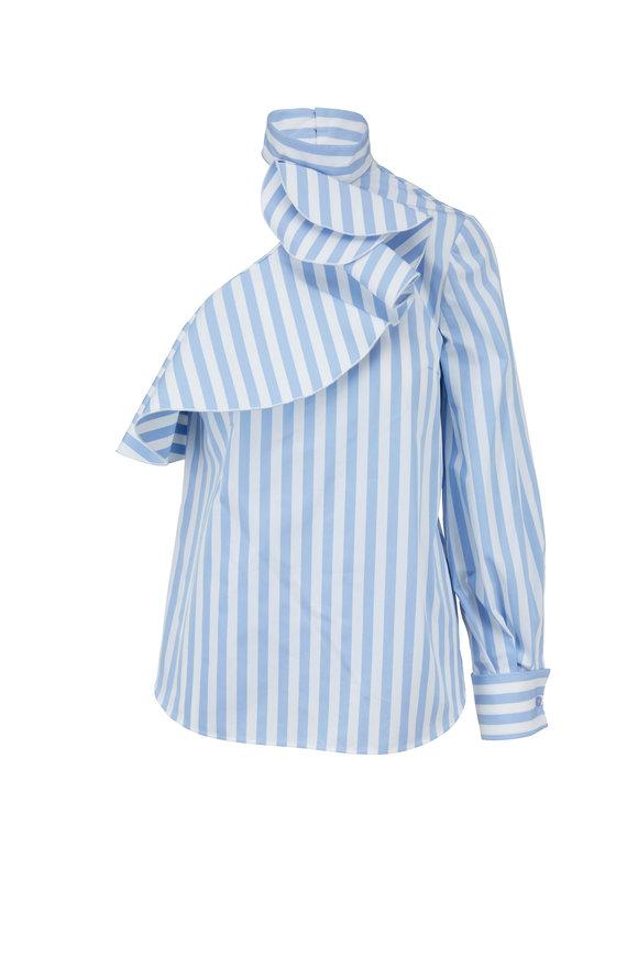 Oscar de la Renta Light Blue & White Striped One-Shoulder Ruffle Top