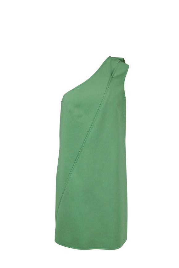 Oscar de la Renta Green Stretch Wool One-Shoulder Dress