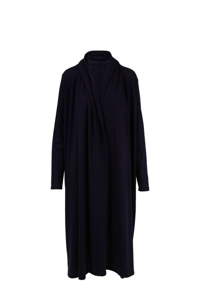 The Row - Renate Navy Stretch Cashmere Open Front Cardigan