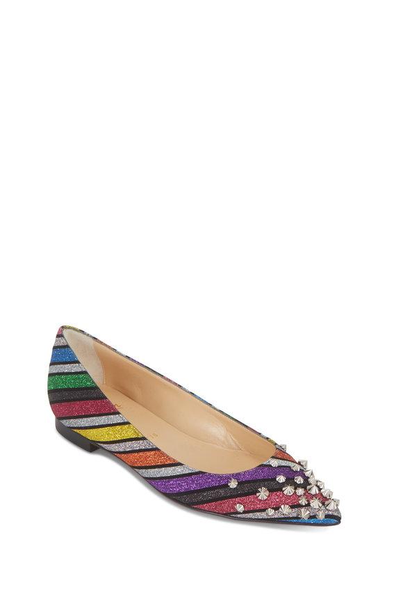 Christian Louboutin Drama Suede Glitter Stripes Studded Flat