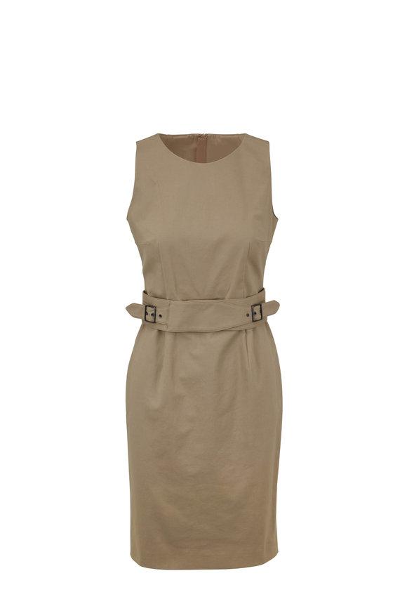 Paule Ka Beige Stretch Cotton Sleeveless Belted Dress