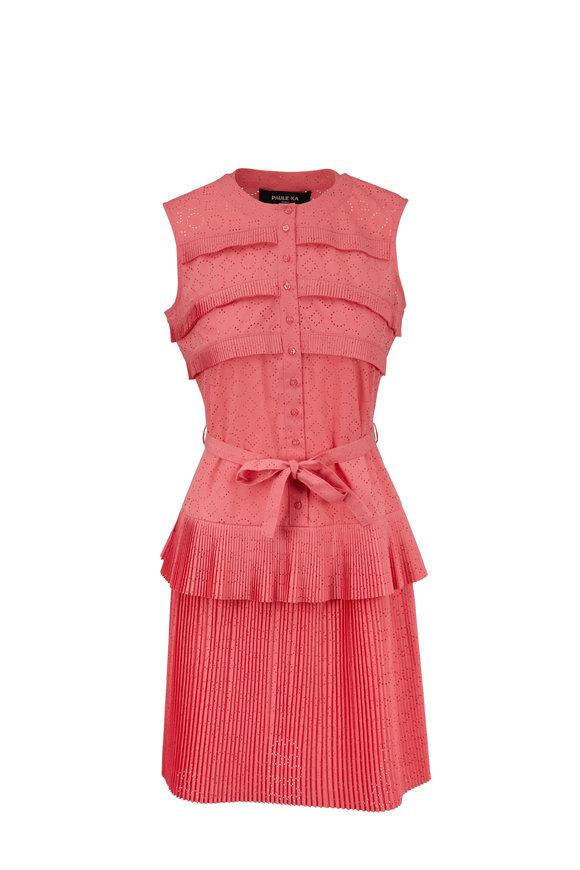 Paule Ka Coral Eyelet Tiered Pleat Dress