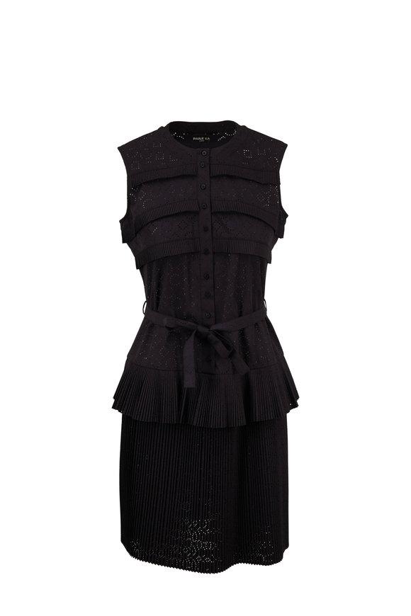 Paule Ka Black Eyelet Tiered Pleat Dress