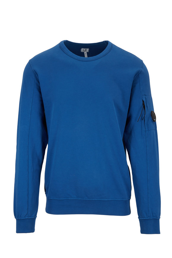 CP Company Moroccan Blue Light Fleece Crewneck Sweatshirt
