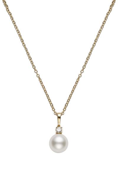 Mikimoto - Yellow Gold White Pearl Diamond Pendant