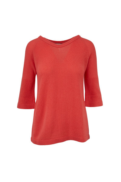 Kinross - Coral Cashmere Bell Sleeve Sweater