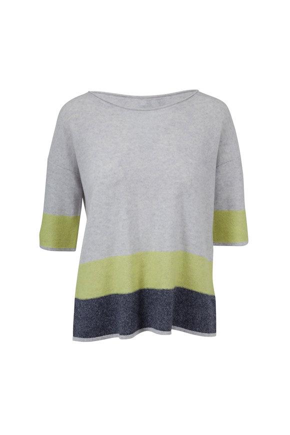 Kinross Seagull & Limestone Stripe Cashmere Sweater