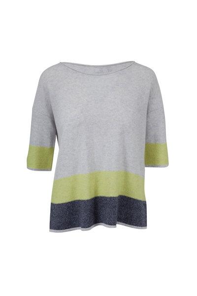 Kinross - Seagull & Limestone Stripe Cashmere Sweater