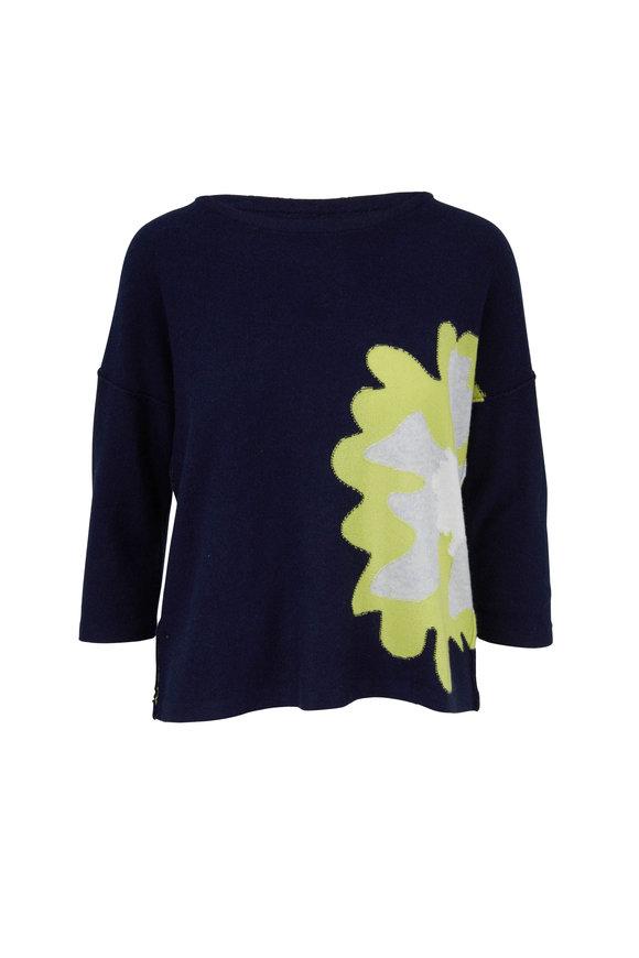 Kinross Stargaze Multi Cashmere Floral Intarsia Sweater